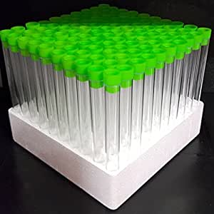 100 x 6 Inch Test Tubes with Tops (Lime Green) by Plastic Test Tubes LTD