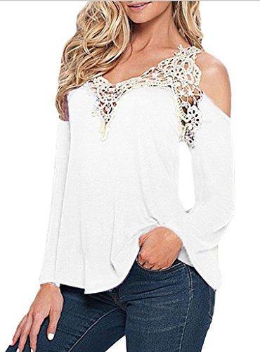 Bigood Femme T-shirt Manches Longue Sans Bretelles Blouse Dentelle Chemise Uni Blanc