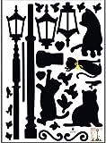 Lamp&Cat Bird Removable Wall Sticker Decal Kids Boys Girls Room Home Decor