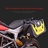 hukoer bolsa de moto impermeable bolsa de sillín moto alforjas impermeable viaje equipaje bolsa (2pc), amarillo