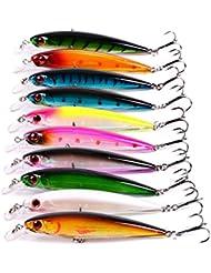 Aorace 10pcs/porción La pesca Minnow cebo duro Pesca Caza y Pesca Isca Artificial 10 colores Calidad gancho swimbait 11cm 13,5 g
