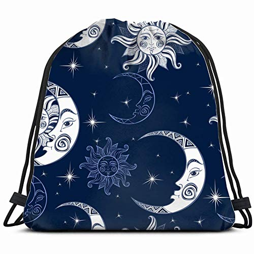 DHNKW Pattern Sun Moon Stars spacecelestial Gym Sack Bag Drawstring Sport Beach Travel Outdoor Backpack for Women 17X14 Inch (Rock Make-up Star Halloween)