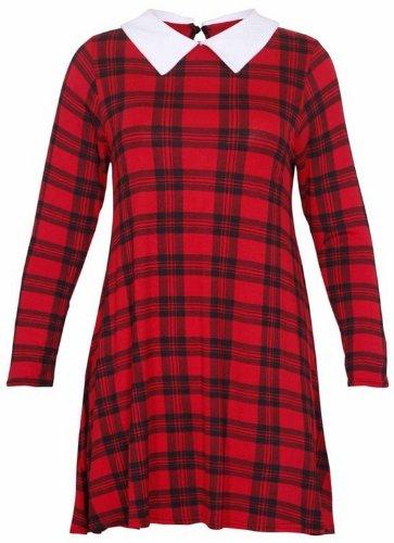 Frauen Plus Size Peter-Pan-Kragen Gedruckt Langarmshirt Plain Swing-Flare Kleid 42-56 Tartan Print