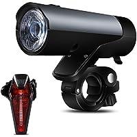 LED Fahrradlampe Set USB, GreenClick Stvzo Fahrradbeleuchtung Zugelassen 3 Licht Modi,Wasserdicht IPX4 Fahrradscheinwerfer Mountainbike Frontlicht Rücklicht in Nacht Fahren