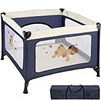 TecTake Portable Child Baby Infant Playpen Travel Cot Bed Crawl Play Area new - different colours -