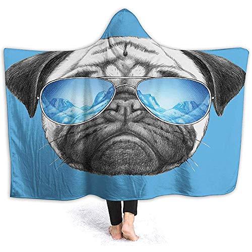 Ultrafino Micro vellón Suave, Pug, Retrato de Pug con Gafas de Sol de Espejo Ilustración Dibujada...