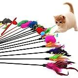 westeng 4classique plumes Funny Pet Jeu pour Chat de Barre de jouet pour chat avec Bell (couleur aléatoire)