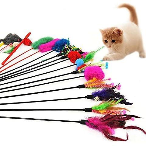 westeng 4pcs Classic piume Funny Pet Cat Play Bastoncini Canna Gatto giocattolo con Bell (colori casuali) - Cat Rod