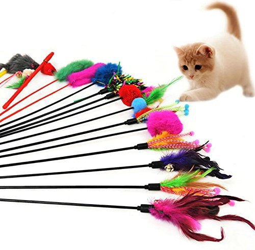 Westeng 4pcs Classic Feathers Funny Pet Cat Play Sticks Rod Cat Toy with Bell (Random Color)