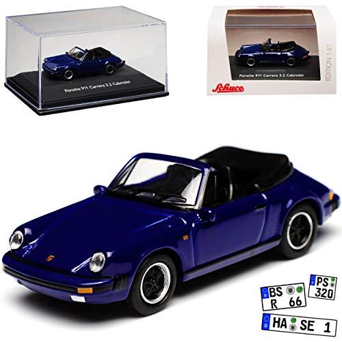 Porsche 911 3.2 Carrera G-Modell Cabrio Blau 1973-1989 H0 1/87 Schuco Modell Auto