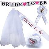 5pcs Velo de Novia + Bride to be Insignia Liga Banda Pancarta para Disfraces de Fiesta de Despedida de Soltera Novia a Ser Velo Corto Gallina Noche (5pcs)
