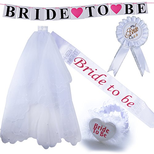 5pcs Velo de Novia + Bride to be Insignia Liga Banda Pancarta para Disfraces de Fiesta de Despedida...
