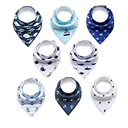 Baby Bandana Drool Bibs,baby Dribble Bibs With Snaps 8 Pack Baby Shower Gift Set For Teething & Drooling,super Absorbent Cotton,feeding Bibs For Newborns Boys Infants Toddlers(baby Bibs)