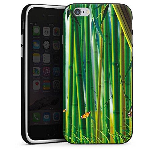 Apple iPhone X Silikon Hülle Case Schutzhülle Bambus Schmetterlinge Natur Silikon Case schwarz / weiß