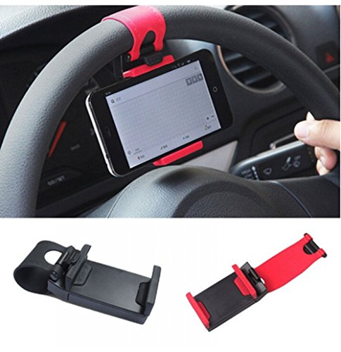 Universal Car Steering Wheel Mobile Phone Socket Holder for Apple iPhone 6 6S Plus 5C 5S / iPhone 4 4S /Samsung Galaxy Xiaomi Lenovo Huawei Coolpad Zenfone LeTV Micromax YU and suits all Smatphones, Mobile phones upto 5.5 inches  available at amazon for Rs.159