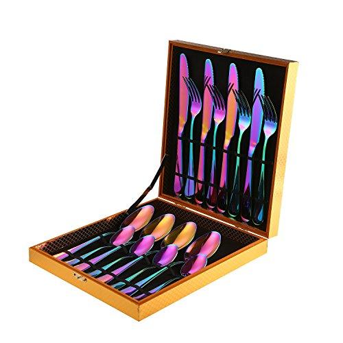 Ensemble de coutellerie en acier inoxydable, niceEshop (TM) 16pcs table de vaisselle colorée de coutellerie ensemble, incluez le couteau/fourchette/soupe/cuillère, Rainbow