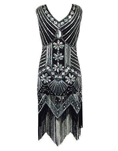 OOFIT Damen 1920er Gatsby Pailletten Kleider, V-Ausschnitt Perlen Franse Flapper Charleston Kleid, Schwarz, Gr.L(EU40) - 3