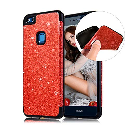 Huawei P10 Lite Handyhülle,CESTOR Luxus Bling Glänzend Ultra Dünn Weich Flexibel Gel TPU Silikon Hülle,Anti-Kratzer Rückseite Schutz Hülle für Huawei P10 Lite,Rot - Aus Telefon-kästen Bling