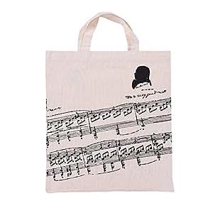 ammoon musik noten muster waschbare baumwollstoff handtasche musik taschen schulter. Black Bedroom Furniture Sets. Home Design Ideas