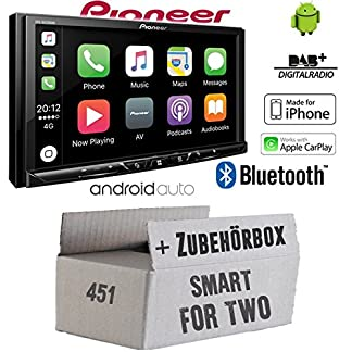 Autoradio-Radio-Pioneer-SPH-DA230DAB-Bluetooth-DAB-USB-Apple-CarPlay-AndroidAuto-Einbauzubehr-Einbauset-fr-Smart-ForTwo-451-2007-JUST-SOUND-best-choice-for-caraudio