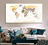 Leinwand Print detaillierten Weltkarte Travel Map of The World Map detaillierter Push Pin Travel Map mit Rahmen Weltkarte für Reisen Push Pin World Map Decor Art