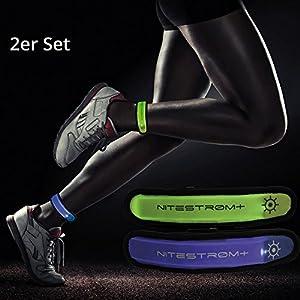 ZNEX LED Armband Leuchtarmband für Sport & Outdoor, 2er Set blau/grün. Hell leuchtendes LED Jogging Fahrrad Licht Warnlicht Blinklicht für hohe Sichtbarkeit im Dunkeln