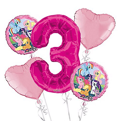 Party Pink Supplies Pony (My Little Pony Balloon Bouquet 3rd Birthday 5 pcs - Party Supplies Pink by Viva Party)