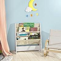 SoBuy® FRG225-W, Children Kids Bookcase Book Shelf Sling Storage Rack Organizer Display Holder