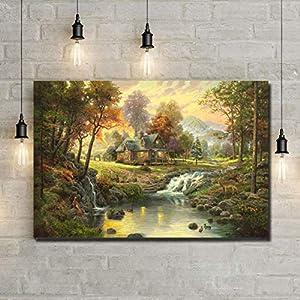 EBONP Leinwanddruck Plakat Leinwand Malerei Wand dekorative Weinlese-Land-Landschaftsöl-Kunst-Segeltuch-Malerei…