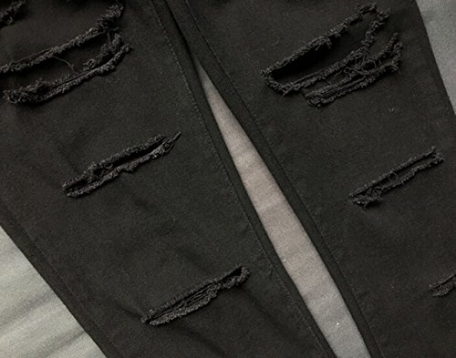 SMITHROAD Damen Stretch Skinny Jeanshose High Waist Asymmetrisch-Zerrissen-Optik Five-Pocket-Style Röhrenjeans Schwarz Gr.34-44 Schwarz