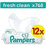 Pampers Fresh Clean Feuchttücher, 768 Tücher, 12er Pack (12 x 64 Stück)