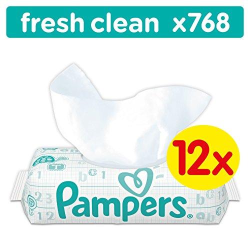5 Stück Lotion (Pampers Fresh Clean Feuchttücher, 768 Tücher, 12er Pack (12 x 64 Stück))