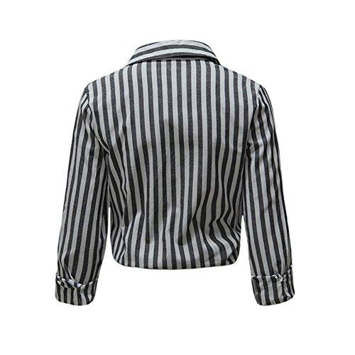 Romacci Damen Streifen Blusen Lange Hülsen Büro Arbeits Hemd Beiläufiges Spitzengrau Grau