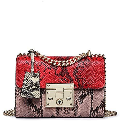 ZYXB Mädchen heißeste Handtaschen echte Frauen Crossbody Taschen weibliche berühmte Kette Umhängetaschen Feminina,red