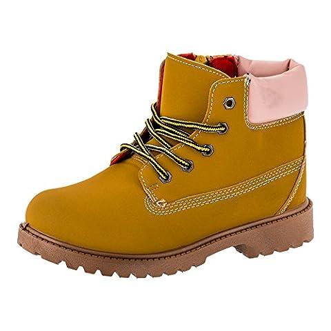 Mädchen Boots, Stiefel, Schnürschuh in mehreren Farben (35, #221bers Beige Rosa)