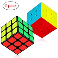 Aiduy 3x3x3 Speed Cube Set, Magic Cube Bundle Sticker and Stickless Speed Cube Smooth Twist Cube 3D Puzzle Game, 2 Pack