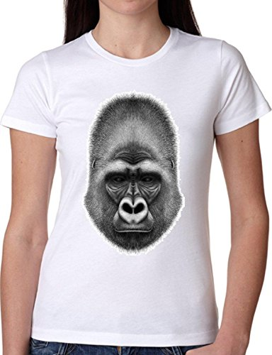 T SHIRT JODE GIRL GGG22 Z1627 GORILLA CARTOON ANIMAL WILD AFRICA FUN FASHION COOL BIANCA - WHITE