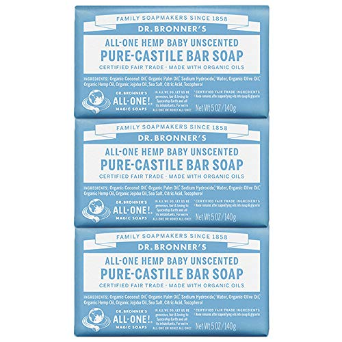 Dr. Bronners Soap Bar (Dr. Bronners Bar Baby Mild Unscented 5oz. Soap (3 Pack) by DR. BRONNER'S)