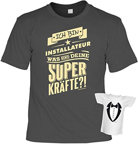 Tolles und witziges T-Shirt Set : Ich bin Installateur was sind deine Super Kräfte?! Farbe: anthrazit