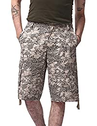 Juqilu Pantalones Cortos Cargo de Hombre Bermudas Sport Casual Algodón  Shorts Multi Bolsillos Deporte Shorts Verano 1a26f7ec8cf5