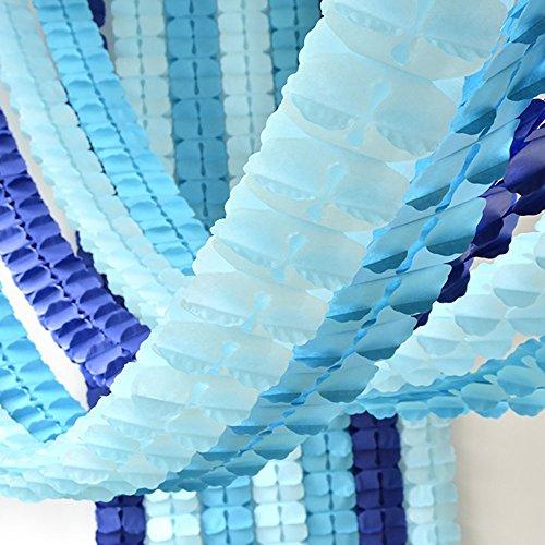 Party Deko-Set 6pcs Aufhängen Girlande Kleeblattes Seidenpapier Blume Girlande wiederverwendbar Party Girlanden für Baby-Dusche Hochzeit Kinderzimmer Brautschmuck Dusche (je 10Feet/3M Lang) blau Set (Baby M Blau)