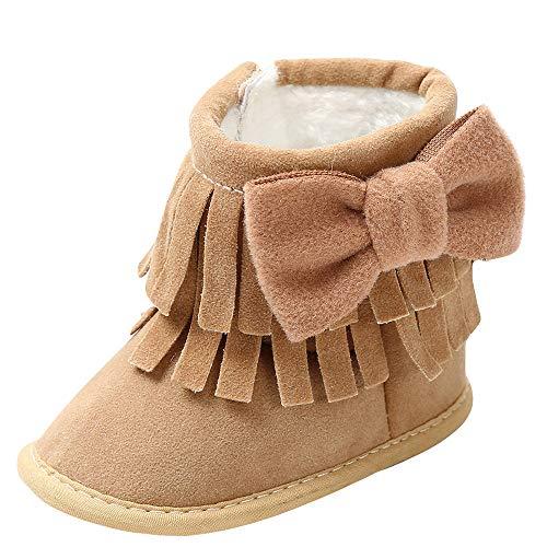 Sonnena Kleiner Bär Schuhe Kleinkind Niedlich Schneeschuhe Boots Kinderschuhe Baby Mädchen Warm Winterschuhe Schuhe Jungen Lauflernschuhe Weiche Sohle Babyschuhe Krabbelschuhe (12-18M, Khaki@)