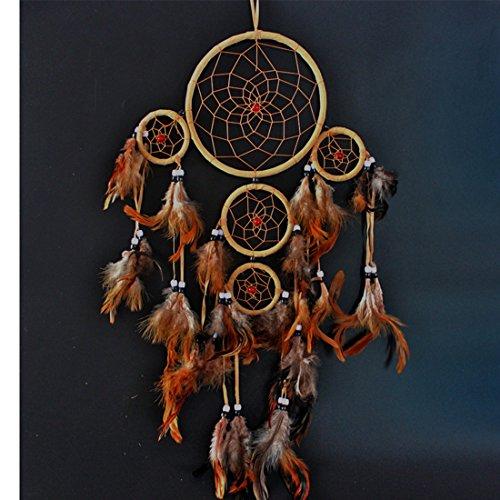 GWELL Traumfänger Dream Catcher Glücksbringer amerikanischen indischen Braun Federn Gute Träume Hängende Dekoration