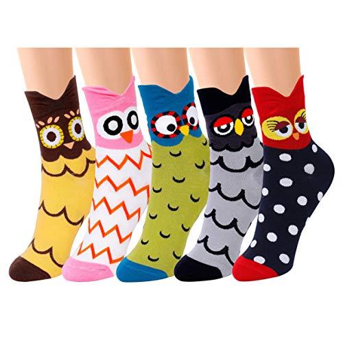 QH-shop Damen Socken Eule Motive Cartoon Tier Socken Baumwolle Socken 5 Paar