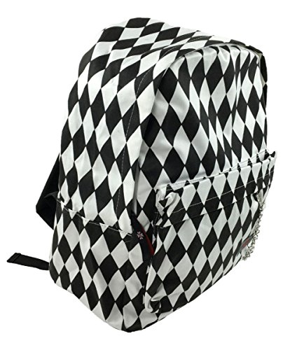 Devil Dagger Diamond Game Checkers, Black White Dark Light Psychedelic Eye Catcher Graphics Universal Theme Pattern Rucksack Mix Alternative Fashion Daypack Tablet Bag Unisex Casual School Backpack -