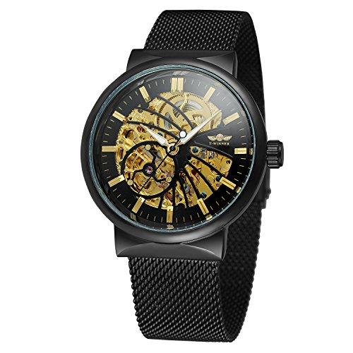 FORSINING Men\'s Automatic Fascinated Water-resistant Popular Skeleton Stainless Steel Bracelet Crystal Watch