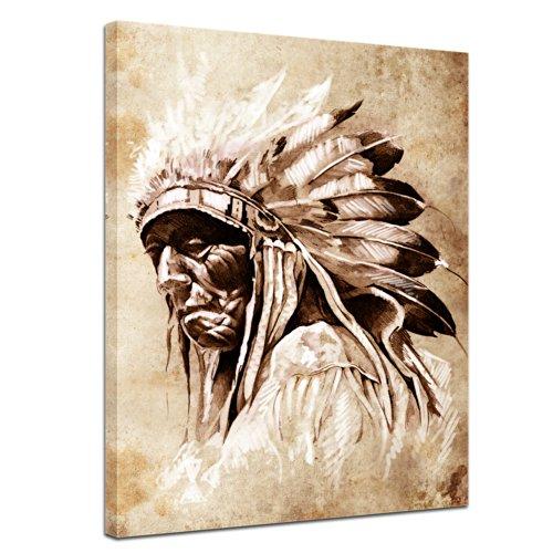 Bilderdepot24 Kunstdruck - Indianer im Vintage Style - Bild auf Leinwand - 60x80 cm - Leinwandbilder - Bilder als Leinwanddruck - Wandbild