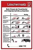 Sicherheitsaushang Schild Löscheinsatz falsch/richtig DIN Kunststoffplatte 300x200mm