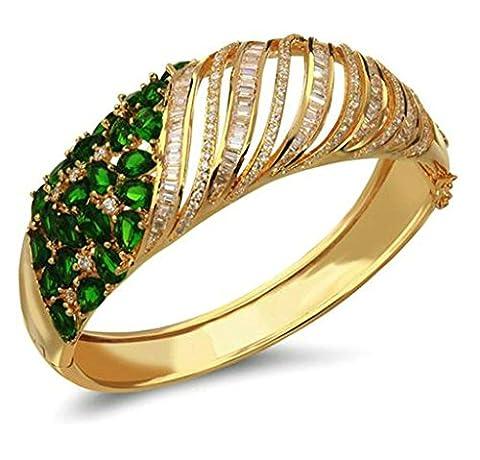 KnSam Bracelet Femme Élégant Plaqué Or Bangle BraceletsHeart Cut Rhinestone Inlay Or