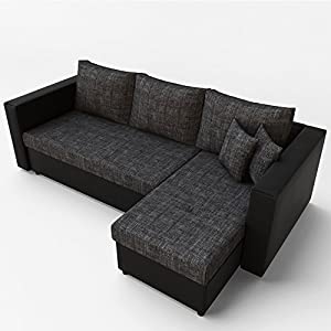 Oskar Ecksofa mit Schlaffunktion Grau Schwarz - Stellmaß: 224 x 144 cm Liegemaß: 200 x 140 cm - Sofa Couch Schlafcouch Schlafsofa Eckcouch